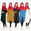 Мусульманские длинные рубашки Осень Блузки и Рубашки Женщины Повседневная Карман На Молнии Рубашка Топы Плюс Размер MHB048