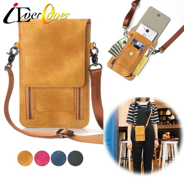 differently 6838f 7fe5c US $12.78 20% OFF|Premium PU Leather Crossbody Bag voor iPhone X XR XS Max  8 7 6 6 S Plus SE 5 S 5C 4 Telefoon Wallet Case w/Card Slot & Schouderriem  ...