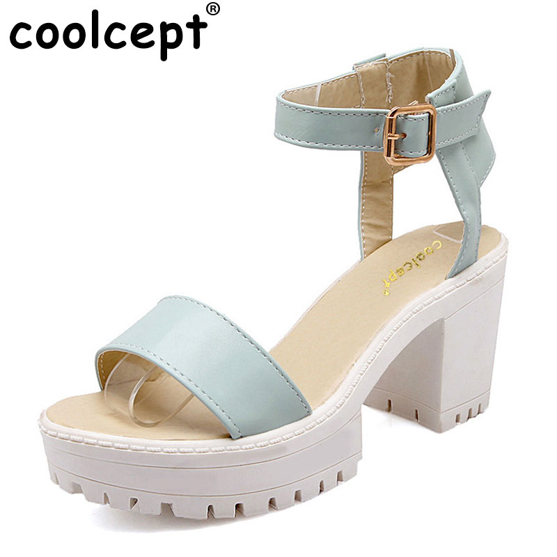 Coolcept Women Ankle Strap High Heel Sandals Gladiator Ladies Square Heeled Sandal Footwear Heels Shoes Size 34-39 PA00592 rousmery 2017 ankle wrap rhinestone high heel sandals woman abnormal jeweled heels gladiator sandals women big size 43