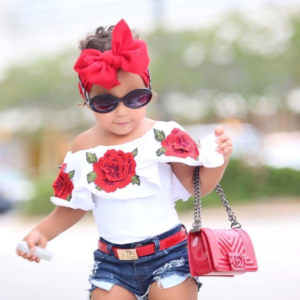7d923920d1925 2-6T Cotton Little Girls Shirt Off The Shoulder White T Shirt Kids Top  Children Clothes Tolder Clothing kids Summer Blouse