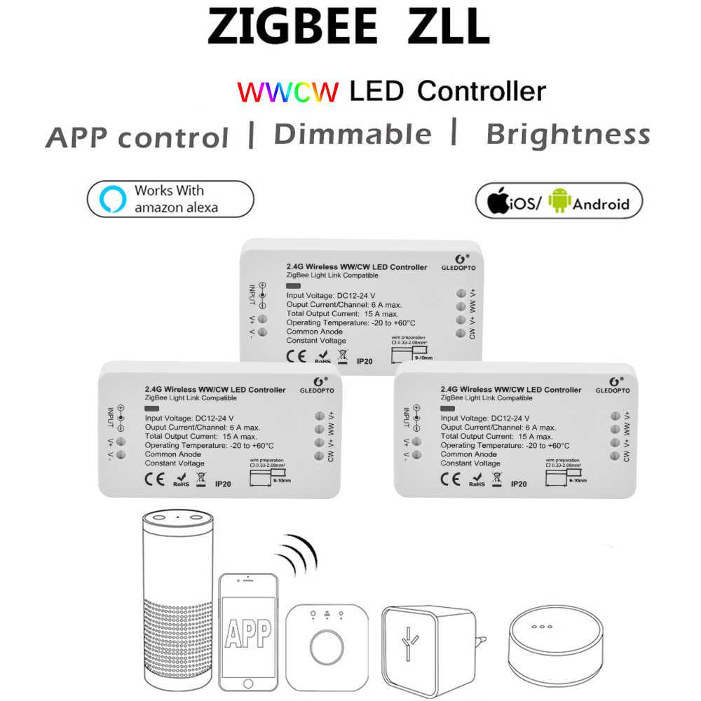 ZIGBEE Led WW/CW dimmer de controlador zigbee Controlador LED DC12-24V tira de LED controlador de zll app controlador zll led estándar