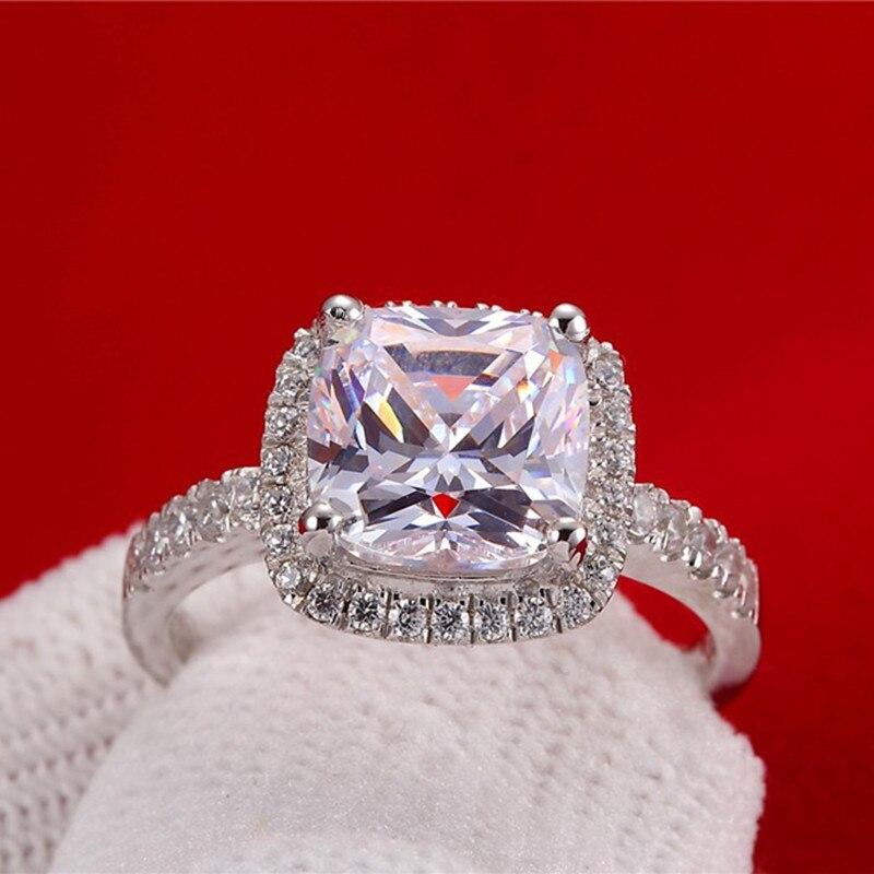 AINUOSHI Luxury 3 Carat Engagement Halo Rings Princess Stlye Cushion - მოდის სამკაულები - ფოტო 3