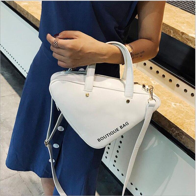 Bagaj ve Çantalar'ten Omuz Çantaları'de Çanta üçgen çanta PU deri çapraz postacı çantası Kadın ünlü Tasarımcı kadın çantası'da  Grup 1