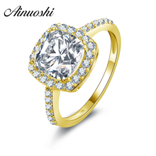 AINUOSHI 10k Solid Yellow Gold Wedding Rings 2.25 ct Princess Cut Halo Bague Simulated Diamond Jewelry Ring for Women Engagement