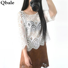 Qbale t shirts women 2017 summer cotton lace tshirts ladies fashion hollow out cropped sexy beach cover up crochet lace tops