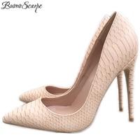 BuonoScarpe 2018 Hot Brand Snakeskin Leather Alligator High Heel 10CM 8CM Shoes Women Wedding 12cm Pumps Office Lady Shoes Big44
