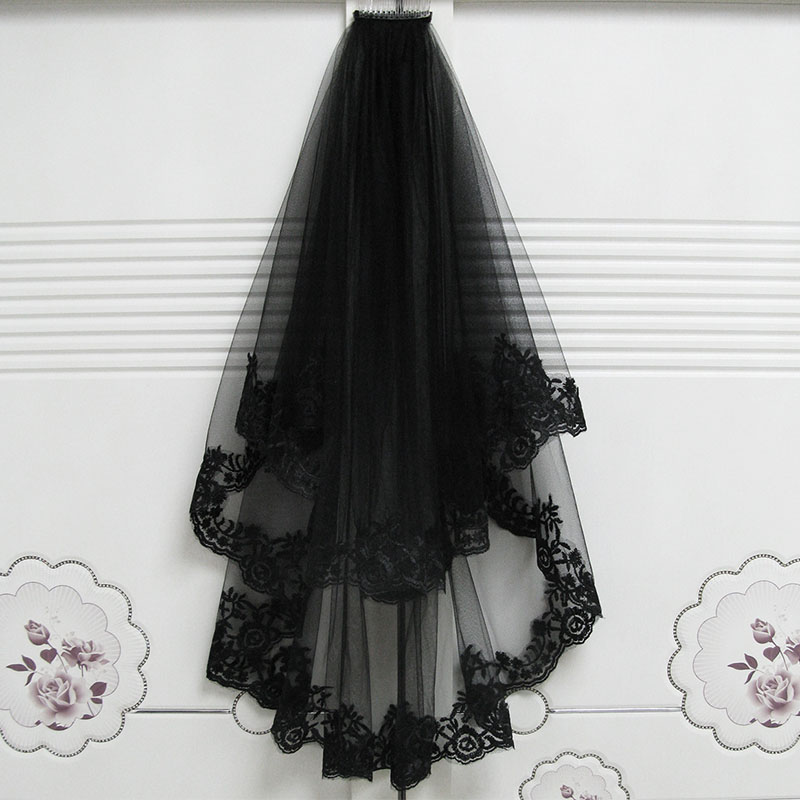 Black Wedding Veil Cathedral Hair Veil With Comb Lace Edge Two Layers Tulle Short Bridal Veil Wedding Accessories Party Dress JL