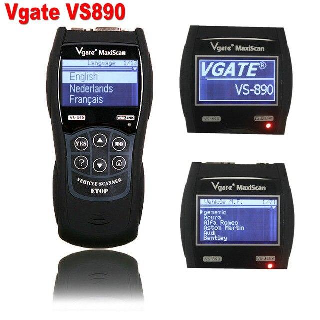 2017 VS890 OBD2 Код Универсальный Диагностический Сканер многоязычная VGATE VS890 Авто Scan Tool Vgate Maxiscan VS-890 Бесплатная Доставка