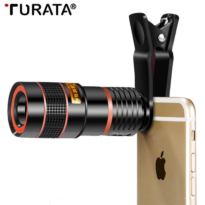 Turata 12X 8X Optischer Zoom Handy Teleskop-kameraobjektiv Universal Clip Telefon HD Kamera Mit Stativ Kits Für iphone