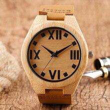 590e3532731 Número romano Relógio De Madeira Dos Homens de Couro Genuíno Banda Bangle  Mulheres Presente Criativo Relógios Esporte Relógio De.