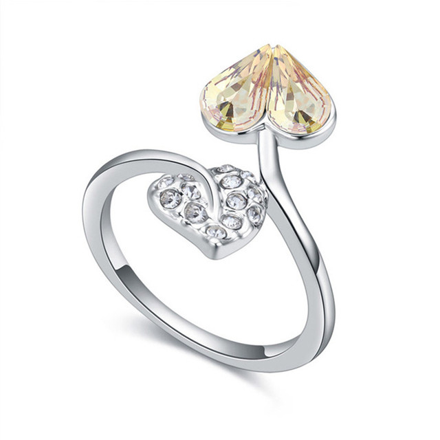 2208fa3e2b9e US $9.89 |Beautiful New Heart Leaf Rings Made with Swarovski Element  Waterdrop Crystal from Swarovski Fashion Women Wedding Ring Jewelry-in  Rings from ...