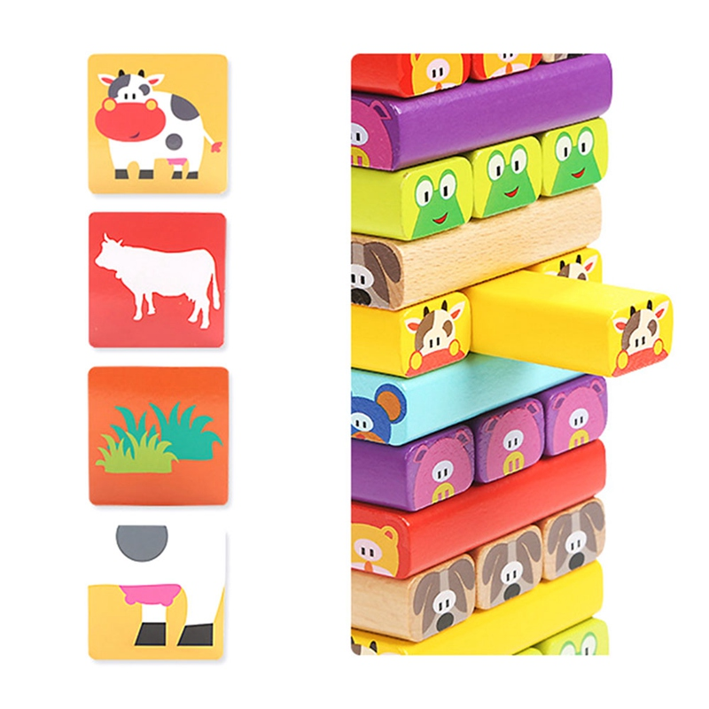 Cartoon Plastic Tower Jenga Game Stacker Building Blocks Baby Stacking Toy Brain Teaser Interactive Game Educational Toys 24pcs plastic baby kid children house building blocks toy brick construction developmental toy set brain game baby play house