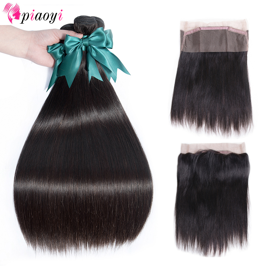 Indian Remy Straight Hair 360 Lace Frontal Closure With Bundles Human Hair 3 Bundles With Lace