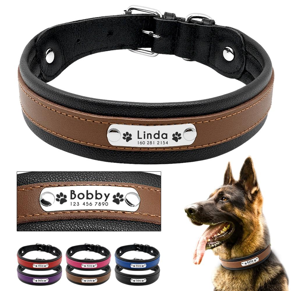 Collar de perro grande de cuero genuino Collar de perro personalizado Nombre de mascota ID Collar acolchado personalizado para perros medianos grandes