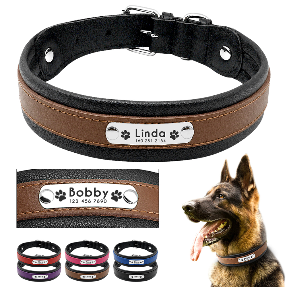 Große Hund Kragen Echtem Leder Hund Kragen Personalisierte Pet Name ID Kragen Padded Angepasst Für Medium Large Hunde
