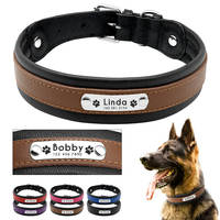 Large Dog Collar Genuine Leather Dog Collar Personalized Pet Name ID Collar