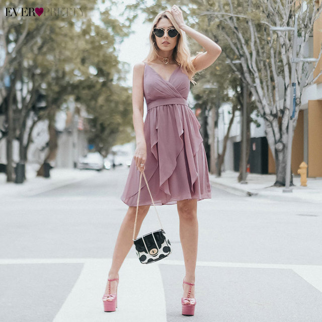 Summer Homecoming Dresses Ever Pretty EP04074MV A-Line V-Neck Sleeveless Sexy Backless Spaghetti Straps Mini Dresses for Party