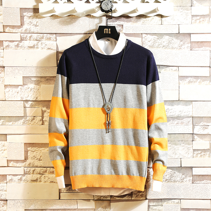 On sale korean mens sweater Men's Pullover Striped Sweaters Long Sleeve Round Neck  Knitting  Christmas Sweater Men