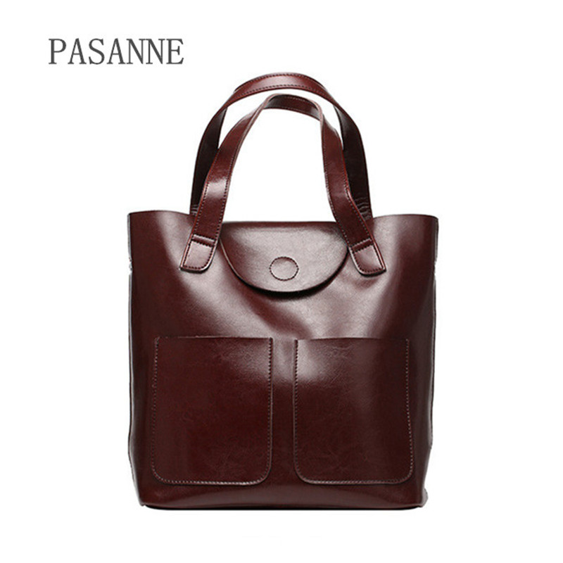2018 New Women Shoulder Bags Shopping Bag Tote Bags Female Leather PASANNE Brand Fashion Handbag Female Genuine Leather Handbags 2017 spring and summer new women genuine leather handbags fashion litchi grain first layer of leather bags female shoulder bags
