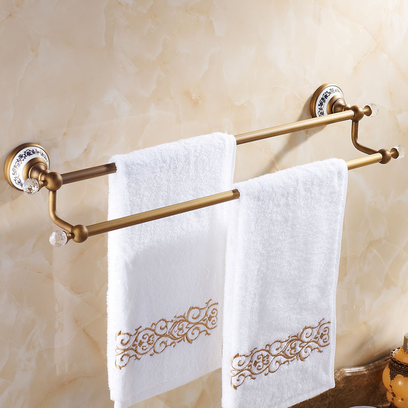 Auswind europe antique bathroom towel rack crystal double - Bathroom towel holders accessories ...