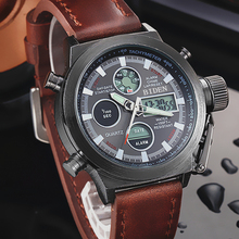 2016 hombres de los Relojes de moda LED digital del deporte Del Ejército Militar Reloj de Cuero Genuino relojes del cuarzo relogio masculino Al Aire Libre caliente