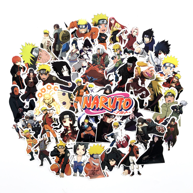 63Pcs/lot Japan Anime Naruto Sasuke Cartoon For Snowboard Laptop Luggage Fridge Car- Styling Vinyl Decal Home Decor Stickers F5