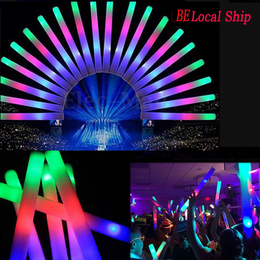 90PCS/Lot LED Foam Sticks Colorful Light-Up Glow Sticks Flashing Baton For Party Fluorescent Glow Rally Rave Party Festival