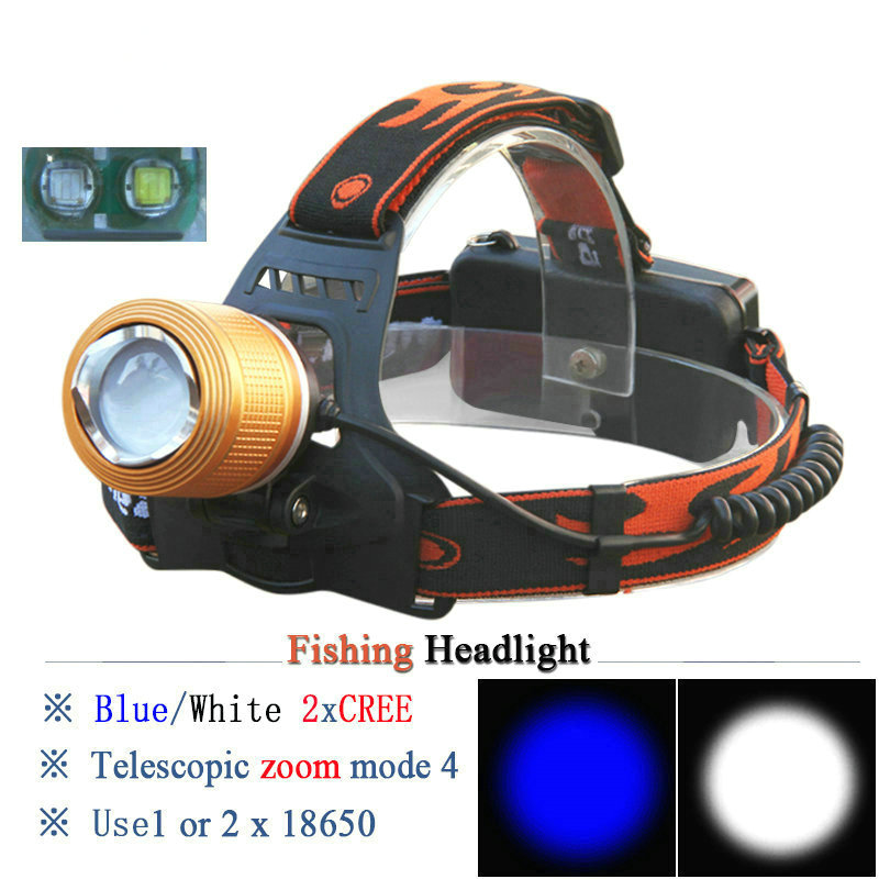 CREE High Power New Headlight Adjustable White or Blue Cree Q5 LED Headlamp Zoom Head Light Bike Head Lamp 18650 With Charger