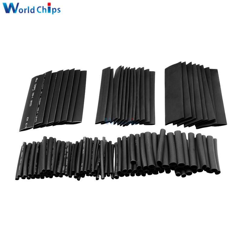 Diymore 127pcs Polyolefin Car Electrical Cable Tube Kits Heat Shrink Tube Tubing Sleeve Wrap Wire Cable Assorted 7 Sizes Black