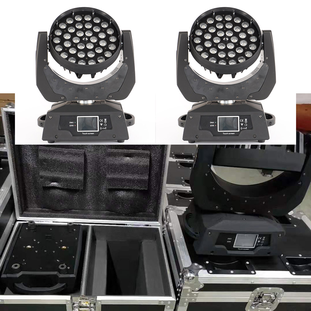 flight case led zoom wash 36x12w rgbw 4in1 moving head light 36x18w rgbwa uv 6in1 moving stage light