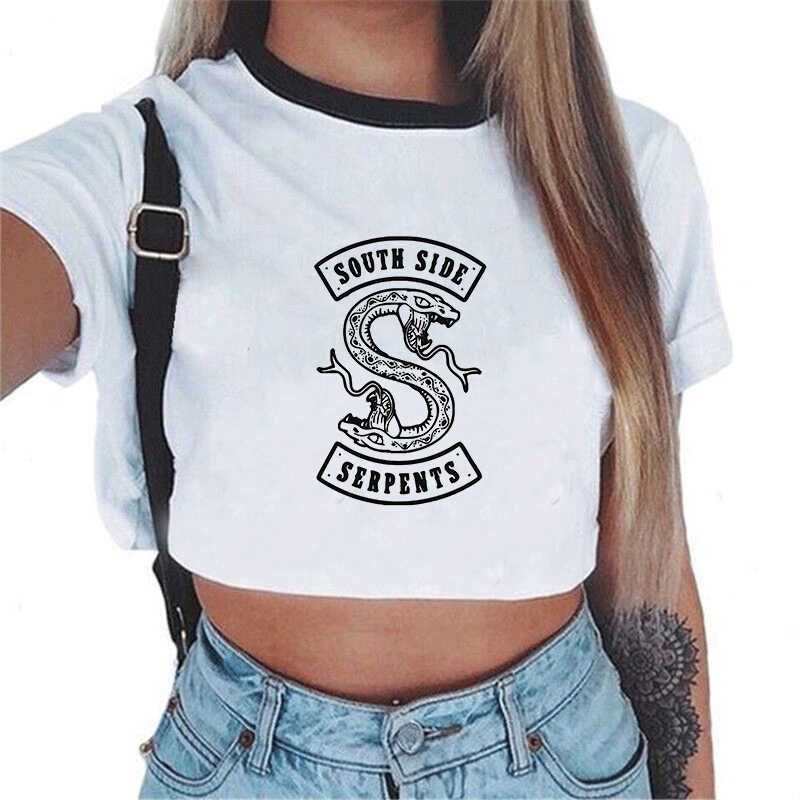 Stranger Things Women T-shirt Harajuku Fashion Letter Printing Riverdale South Side Serpents Casual Short Sleeve O-neck Crop Top