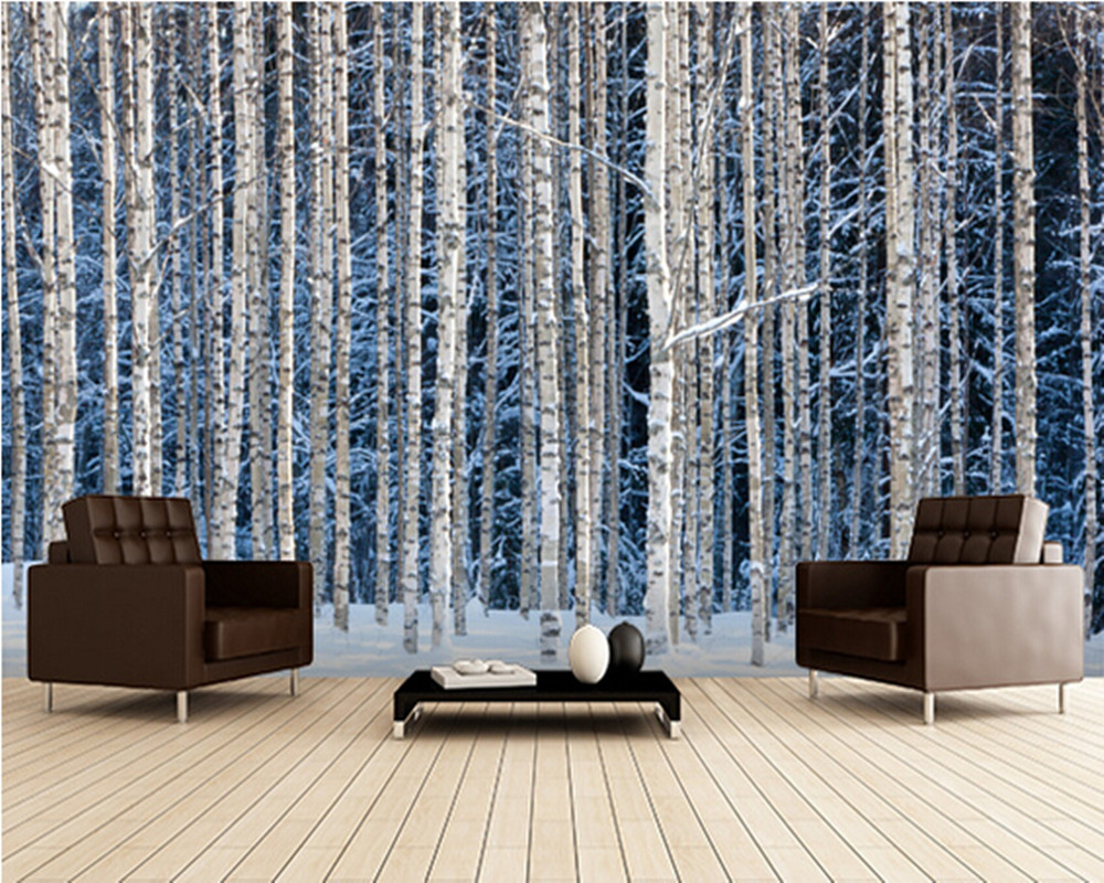 Custom landscape wallpaper,Snowy Birch Forest,3D photo mural for living room bedroom kitchen background waterproof PVC wallpaper custom green forest trees natural landscape mural for living room bedroom tv backdrop of modern 3d vinyl wallpaper murals