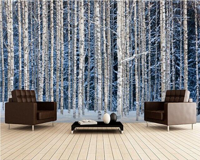 Pvc Behang Keuken : Custom landschap behang besneeuwde berkenbos 3d foto