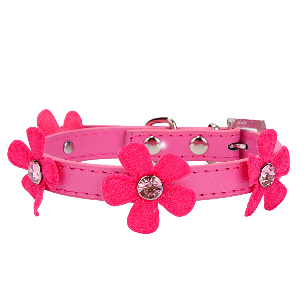 Dog Collar Rhinestone Bling Crystal With Flowers Necklace 2