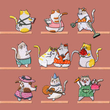 AHYONNEIX Brand Funny Family Cat patch babys clothing patches applique backpack decoration small cute iron on