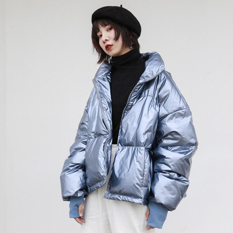 Women Glossy   Down     Coats   Jackets Warm Winter Woman   Down   Parka Streetwear Bat Sleeved Zipper Solid Short   Coat