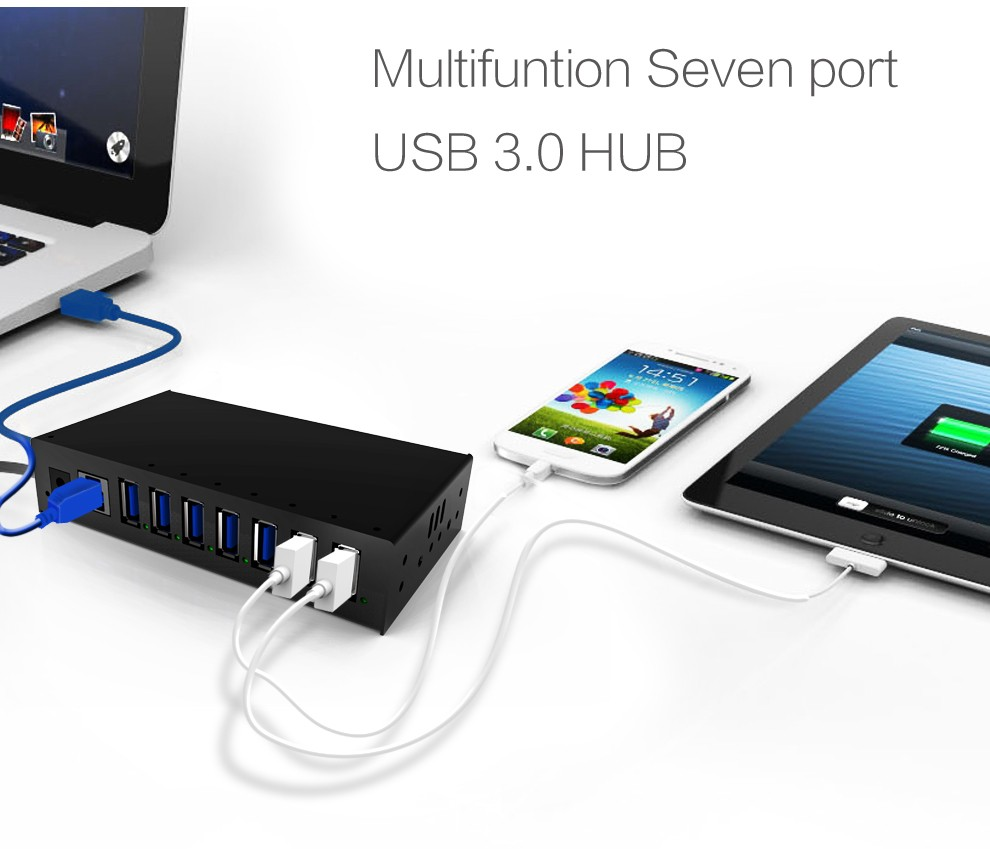 USB 3.0 SuperSpeed Hub 7 Port