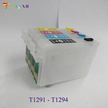 4pcs T1291 -4Refillable Ink Cartridges for Epson SX230 SX235W SX430W SX435W SX440W SX445W