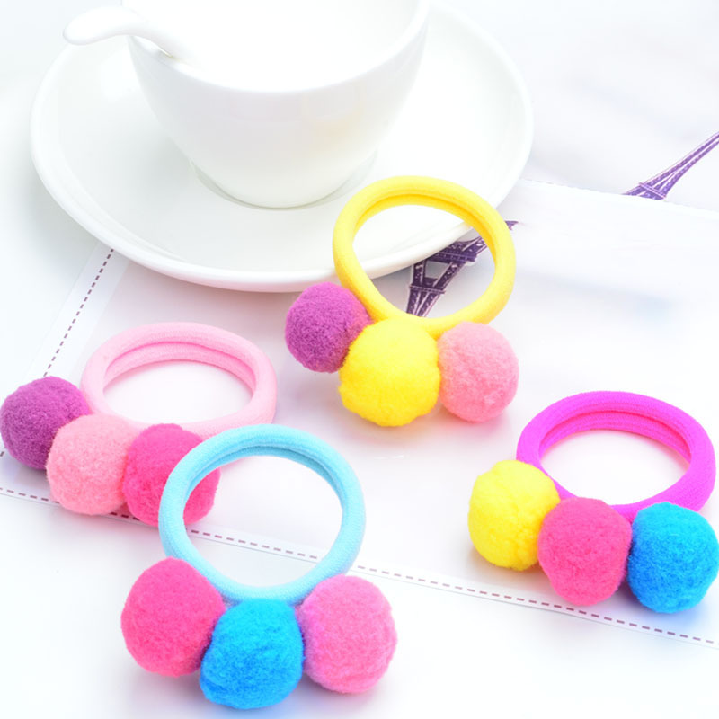 AIKELINA 6PCS/LOT Cute 3 Balls Elastics Rubber Bands Hair Holders Bands Gum Fashion Kids Candy Headwear Girl's Hair Accessories 10pcs lot candy fluorescence colored hair holders high quality rubber bands hair elastics accessories girl women tie gum