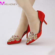 Red Satin Bridal Shoes with Rhinestone Crystal Medium Heel Party Shoes Vogue Evening Gown Shoes Handamde Prom Dress Shoes