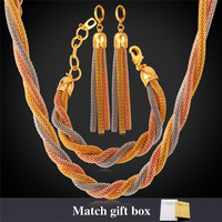 Women Gold Chain Necklace Bracelet Earrings Set 18K Gold Rose Gold Plated 8MM 51CM 20 Sets