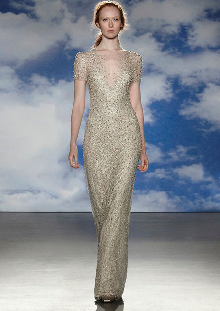 545f3eb877 Luxury Gold Sequins Beads Vestidos De Noiva Illusion Crew Neck Mermaid Evening  Dress 2015 Jenny Packham