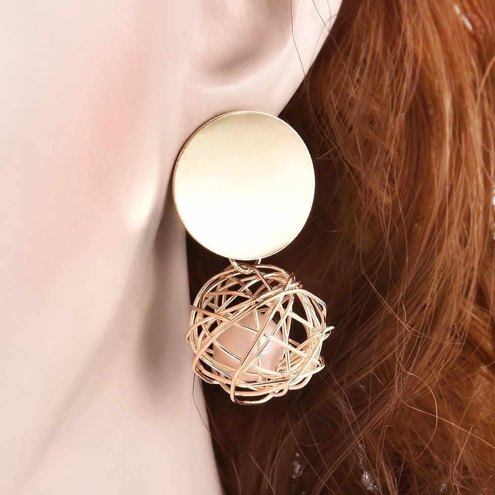 แฟชั่นผู้หญิงเลดี้เสน่ห์รอบเพิร์ลฮอลโลว์ห้อยDropจี้ต่างหูบุคคลที่สง่างามต่างหูเครื่องประดับของขวัญ