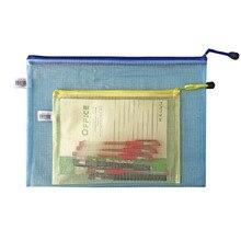 Office Learning supplies A4 grid Zipper File Bag Transparent portable information bag storage bag file bag wholesale