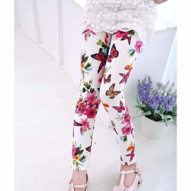 fashion baby clothes leggings for girls pants kids baby girls printing flower ninth pants fashion sports trousers for children