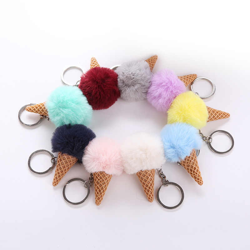 Fluffy Fur Ice Cream Keychain For Women Fuax Furs Ball Pompom Key Chain Car Bag Keyring Pendant 9 Colors