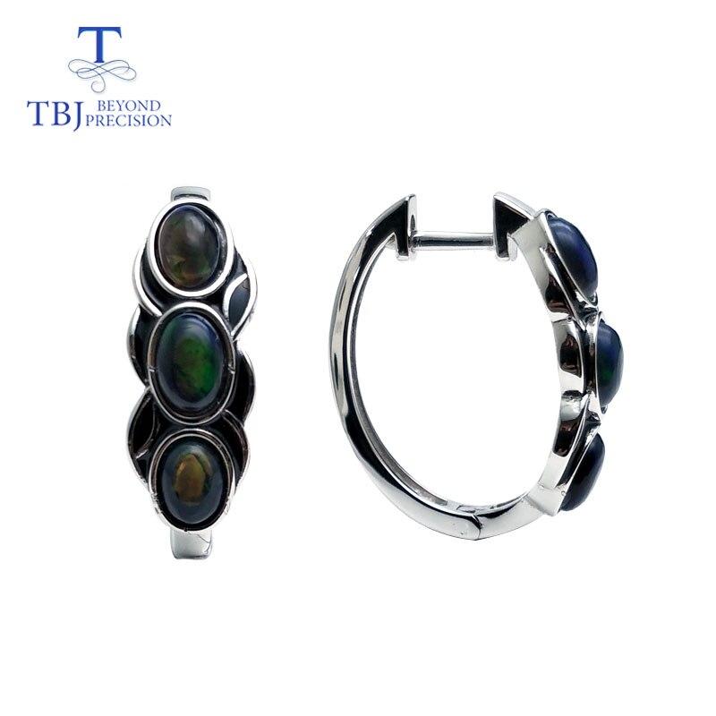 TBJ, สไตล์วินเทจดี clasp ต่างหูสีดำธรรมชาติพลอยโอปอลเงินแท้ 925 ออกแบบสำหรับสตรีสวมใส่ทุกวัน-ใน ต่างหู จาก อัญมณีและเครื่องประดับ บน   2