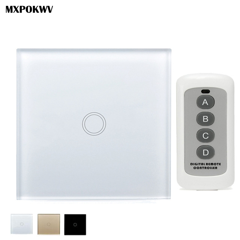Smart Home EU/UK Remote Control Switch 1 Gang 1 Way Wireless Wall Light Control Switch 220v, Smart Home Automation Module