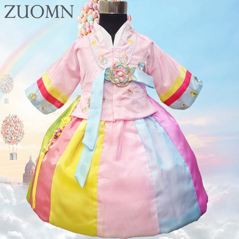 Yukata Japanese Color Children Hanbok Dress hildren Embroidery hanbok dresses Koreanprincess national costumes clothes YL391