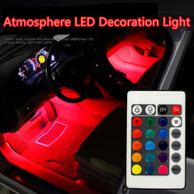 Car styling Wireless Remote/Music/Voice Control Interior Floor Foot Decoration Light Cigarette LED Atmosphere RGB Neon LampStrip
